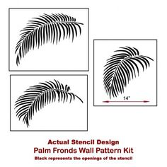 Palm Fronds 3 Piece Stencil Kit - Stencil Kit for Quick and Easy DIY Stencil Application - Better Than Decals from Cutting Edge Stencils Stencil Wall Art, Wall Stencil Patterns, Leaf Stencil, Stencil Diy, Stencil Designs, Bird Stencil, Damask Stencil, Stenciling, Diy Wall