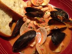 SEAFOOD CIOPPINO ** Spicy Main dish SOUP, with lots of herbs and a little tomato paste ** SHRIMP, MUSSELS and/or CLAMS, Fresh FISH, CRAB ** The broth is incredible to soak up with pieces of toasted sourdough or French bread! **
