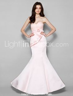 Lanting Bride Floor-length Lace / Satin Bridesmaid Dress Trumpet / Mermaid Sweetheart Plus Size / Petite with Bow(s) / Lace / Criss Cross 2016 - $89.99