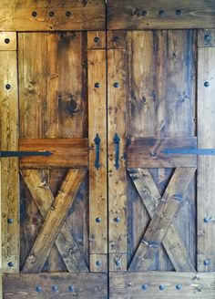 Rustic Sliding Barn Doors at Affordable Prices!  Split 'X' design, rustic barn door pulls, decorative metal clavos and strap hinges! Check us out to find your style!  From our house to yours! www.dswoodhouse.com