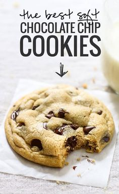 This truly is The Best EVER Soft Chocolate Chip Cookies! No overnight chilling, no strange ingredients, just a simple recipe for ultra SOFT, THICK chocolate chip cookies! Delicious Desserts, Dessert Recipes, Yummy Food, Dinner Recipes, Healthy Food, Easy Cookie Recipes, Healthy Recipes, Soft Cookie Recipe, Easy Recipes
