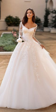 moonlight collection fall 2019 bridal illusion long sleeves off shoulder neckline fully embellished lace a line ball gown wedding dress elegant princess romantic chapel train mv -- Moonlight Collection Fall 2019 Wedding Dresses Country Wedding Dresses, Princess Wedding Dresses, Wedding Dress Sleeves, Modest Wedding Dresses, Elegant Wedding Dress, Designer Wedding Dresses, Bridal Dresses, Lace Sleeves, Winter Wedding Dress Ballgown