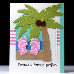 Flip Flops and Palm Trees - Scrapbook.com - Love this fabulous paper pieced card!