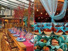Casamento Mediterrâneo & Trancoso - Decoração da Mesa de Convidados  Realização Flower People