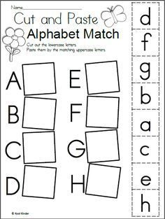 Preschool alphabet worksheets and coloring pages help your little one master all the letters of the alphabet. Check out our preschool alphabet printables. Letter Worksheets For Preschool, Matching Worksheets, Free Kindergarten Worksheets, Preschool Learning Activities, Preschool Letters, Letter Activities, Free Preschool, Cut And Paste Worksheets, Literacy Worksheets
