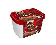 Fruitbom Sorvetes - Arte embalagem Cinta para pote de 2 Litros com tampa vermelha sabor chocolate