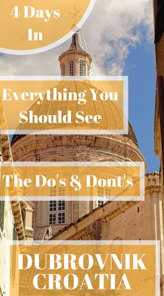 The perfect Dubrovnik, Croatia Itinerary, The Do's & Dont's , things to do, and endless tips for first time visitors or visitors that have been there before. Click to read 4 Day Dubrovnik, Croatia Itinerary – Things to Do in Dubrovnik