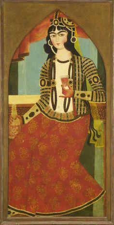 Woman holding a decanter and wine glass   بانویی با تنگ و جام شراب،رنگ روغن روی بوم، سال 1830 ترسایی، 134.6 در 63.5 سانتیمتر Woman holding a decanter and wine glass Oil on canvas Date 1830 Dimensions 134.6 x 63.5 cm