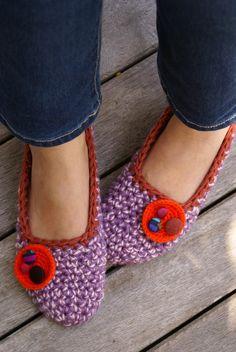 Crocheted Slippers, House Shoes with Vintage Fabric Covered Buttons WOMENS