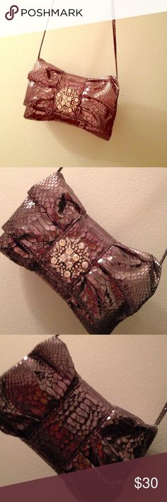 """Adorable Iman clutch I've use this once it is so adorable but it's just not getting used enough it's an evening clutch that can also be used as a Crossbody bag the strap is removal. Euc.7 1/2"""" x 6"""" faux gator fabric Iman Bags Crossbody Bags"""