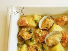 Patatas guisadas con salmón y almejas