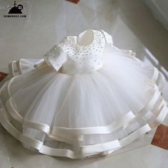 Browse Wonderful collection Girly Shop Made To Order - High Quality Round Neckline Pearl Applique Short Sleeve Big Bow Back Little Girl Party Dress Fr Girls Party Dress, Birthday Dresses, Little Girl Dresses, Girls Dresses, Toddler Flower Girl Dresses, Dress Party, Party Dresses, Baptism Dress, Christening Gowns