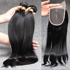 6A Brazilian Unprocessed Virgin Straight Hair 3 Bundles Hair Weaves &1Pcs Middle Part/Free Part/3 Part Lace Closure Straight www.hotqueenhair.com