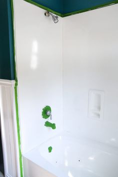 An beige cultured marble sink and countertop get a bright white makeover using super durable paint meant specifically for sinks, tubs, and showers. Counter Top Sink Bathroom, Sink Countertop, Bathroom Countertops, Bathroom Sink Faucets, Vanity Bathroom, Bathroom Shelves, Counter Tops, Cheap Countertops, Concrete Countertops