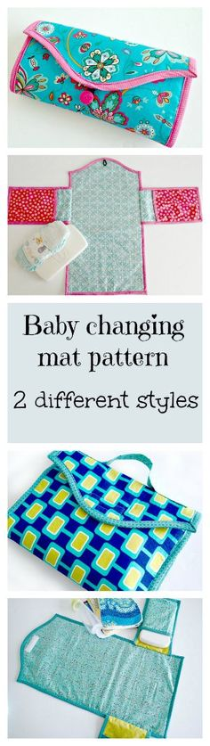 DIY Gifts : Baby changing mat pattern - two options Baby changing mat. Several different styles and options in the same pattern. Baby Sewing Projects, Sewing Projects For Beginners, Sewing For Kids, Sewing Tutorials, Sewing Crafts, Sewing Hacks, Sewing Ideas, Quilt Baby, Baby Patterns