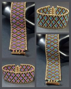 PATTERN - Single Peyote - Mermaid Scales Bracelet Bijoux perles Make your own diy vase out of wood. Diy Bracelets To Sell, Bead Loom Bracelets, Beaded Bracelet Patterns, Bead Loom Patterns, Peyote Patterns, Bead Jewellery, Loom Beading, Bead Weaving, Diy Bracelet