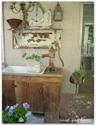 Love this garden room from Shelley! I want that sink with the old pump and everything else too! Garden Sink, Outdoor Sinks, Outdoor Benches, Garden Benches, Potting Tables, Pallet Potting Bench, Flea Market Gardening, Estilo Country, Outdoor Spaces