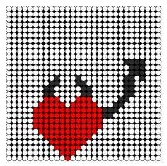Devil Heart Perler Bead Pattern | Bead Sprites | Simple Fuse Bead Patterns