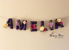 Felt name banner nursery decor felt letters flower name Felt Name Banner, Felt Letters, Baby Decor, Nursery Decor, Nursery Ideas, Room Ideas, Create A Banner, Display Banners, Etsy Handmade