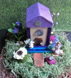 Miniature Fairy Garden House with Miniature Fairy and Crystals -Lavender Garden #FairyGardenHouse