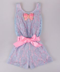 This Blue & Pink Lace Romper - Toddler & Girls is perfect! #zulilyfinds
