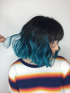Ombre Teal Balayage Ombré done at Xcellent Beauty Salon in NY. Alpingo Balayage , Teal Balayage Ombré done at Xcellent Beauty Salon in NY. Teal Balayage Ombré done at Xcellent Beauty Salon in NY. Teal Balayage Ombré done at Xcellent. Blue Ombre Hair, Ombre Hair Color, Cool Hair Color, Short Blue Hair, Dark Ombre, Dark Teal Hair, Silver Hair, Aesthetic Hair, Grunge Hair