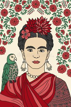 Illustration about Hand drawn colorful portrait of Frida Kahlo, with floral background, red flowers in her hair and a parrot on her shoulder. Illustration of creative, famous, person - 84482387 Diego Rivera, Salvador Dali, Frida Kahlo Exhibit, Frida Paintings, Frida Kahlo Portraits, Frida Art, Pop Art, Drawing Sketches, Drawings