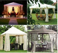 Gazebos for our backyard. Love the top left!