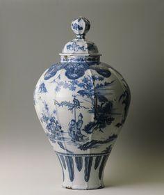 Glazed earthenware vase with chinoiserie decoration, Frankfurt, c. 1680, at Saltram, Devon.