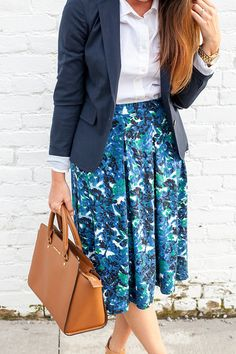 I have the blazer & the white button down. Love the floral skirt. Modest Skirts, Modest Outfits, Skirt Outfits, Work Outfits, Summer Outfits, Work Fashion, Modest Fashion, Meeting Outfit, Professional Dresses
