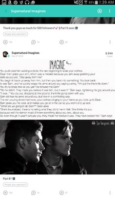 ( be either one or the girl )[ her pov] I stay on my knees is the rain looking at dean with terror in my eyes . I start to squirm after dean takes a small step towards me and i grab the knife and fight against Sam and i finally get loose and i get up and take off running