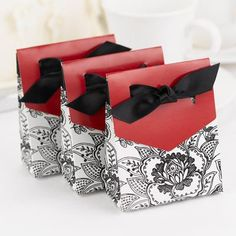 Wedding Party Favor Candy Floral Merlot Red Black White Tent Gift Boxes Ribbon | eBay