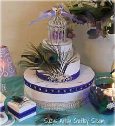 diy wedding card box with a peacock theme