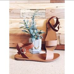 TONIGHT ONLY SALE*Minimalist Cognac Sandals The perfect every day two-tone flat sandals that your wardrobe will love! Features include an open toe front, tan faux leatherette upper, contrasting band strap, rubber sole and buckle ankle straps.   Heel Height: 0.5″  Platform Height: 0.25″  Width: 3.25″  Heel to Toe: 9.28″  (All Measurements Based on Size 6 Shoe) PLEASE READ: NO TRADES. PRICE IS FIRM UNLESS BUNDLED! Shoes Sandals