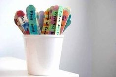 """Beat boredom with pre-labeled """"activity sticks."""" Brainstorm a bunch of fun ideas together and you'll always have inspiration on hand when boredom strikes"""