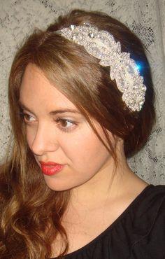 Rhinestone Headband Mademoiselle Bridal Headband by Crystal Headband, Rhinestone Headband, Wedding Headband, Moon Wedding, Ribbon Headbands, Portraits, Bridal Hair Accessories, Bride Hairstyles, Bridal Headpieces