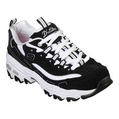 A classic look gets updated with comfort in the SKECHERS D'Lites - Biggest Fan shoe. Smooth trubuck leather and fabric upper in a lace up sporty casual sneaker with stitching and overlay accents. Casual Trainers, Casual Sneakers, Air Max Sneakers, Girls Skechers, Skechers Sneakers, Sneakers Adidas, Sketchers Shoes Women, Skechers D Lites, Fabric Shoes