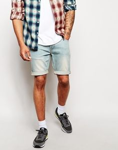 $20, Light Blue Denim Shorts: Asos Brand Denim Shorts In Super Skinny Fit Mid Length. Sold by Asos. Click for more info: https://lookastic.com/men/shop_items/119181/redirect