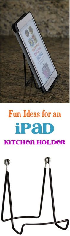 Check out these Fun Ideas for an iPad Kitchen Stand Tablet Holder! Like a modern day cookbook, it gives easy access to your recipes you've acquired online! - see tips at TheFrugalGirls.com