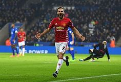 Juan Mata celebrates as he scores Manchester United third goal against Leicester City at the King Power Stadium. Mata has been involved in 86 Premier League goals since his debut (44 goals, 42 assists) - the highest goal involvement rate of any Premier League midfielder in that time
