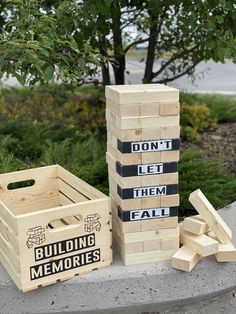 New to our DIY delivery - Outdoor Giant Jenga! Offered as delivery or curb side pickup - as well as shipping across Canada! A super fun interactive game for not only children but adults too! Wooden Storage Crates, Crate Storage, Outdoor Jenga, Giant Jenga, Summer Memories, Online Tutorials, Having A Blast, Delivery, Canada