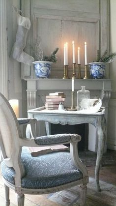 Blue and White Gustavian Christmas