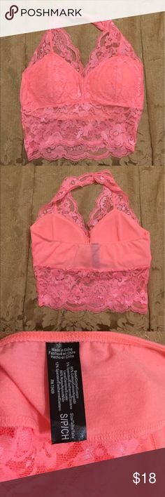 Lace Halter Top Coral Lace Halter Top. Like New. Intimates & Sleepwear Bras