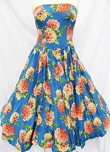 50s vintage Dahlia print silk dress -- Southern garden party attire, y'all