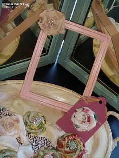 Shabby Chic Chalk Painted Furniture. Love the fabric flowers.