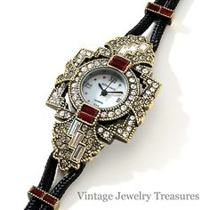 Heidi Daus Art Deco Red Crystal Framed Double Cord Watch New HSN SOLD OUT $79