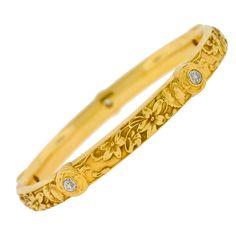RIKERS BROTHERS Art Nouveau Diamond & Gold Repousse Bracelet