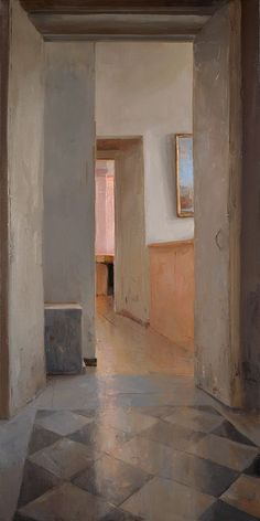 Hallway, Rome, 2014 by Kenny Harris on Curiator, the world's biggest collaborative art collection. Interior Paint, Interior And Exterior, Painting Inspiration, Still Life, Cool Art, Contemporary Art, Illustration Art, Illustrations, Windows