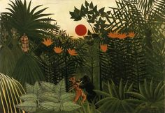 Exotic Landscape Fight between Gorilla and Indian, 1910 - by Henri Rousseau