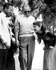 """William Holden, director Billy Wilder and Audrey Hepburn on the set of Sabrina"""